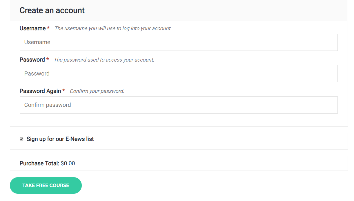 Step 3 - Create Account at Checkout