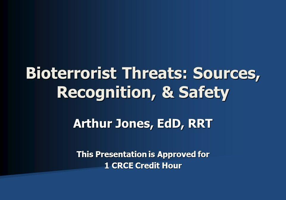 Bioterrorist Threats Slide 1