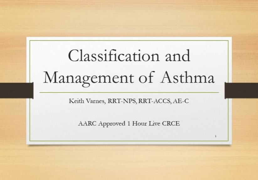 Classification & Management of Asthma Online Slide 1