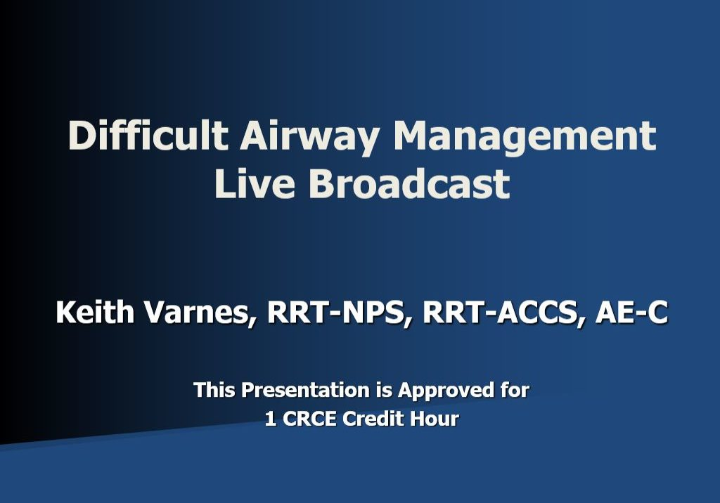 Difficult Airway Live Broadcast KV